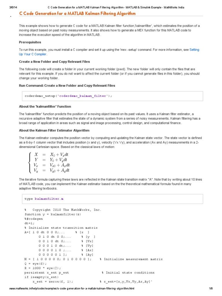 C Code Generation for a MATLAB Kalman Filtering Algorithm - MATLAB