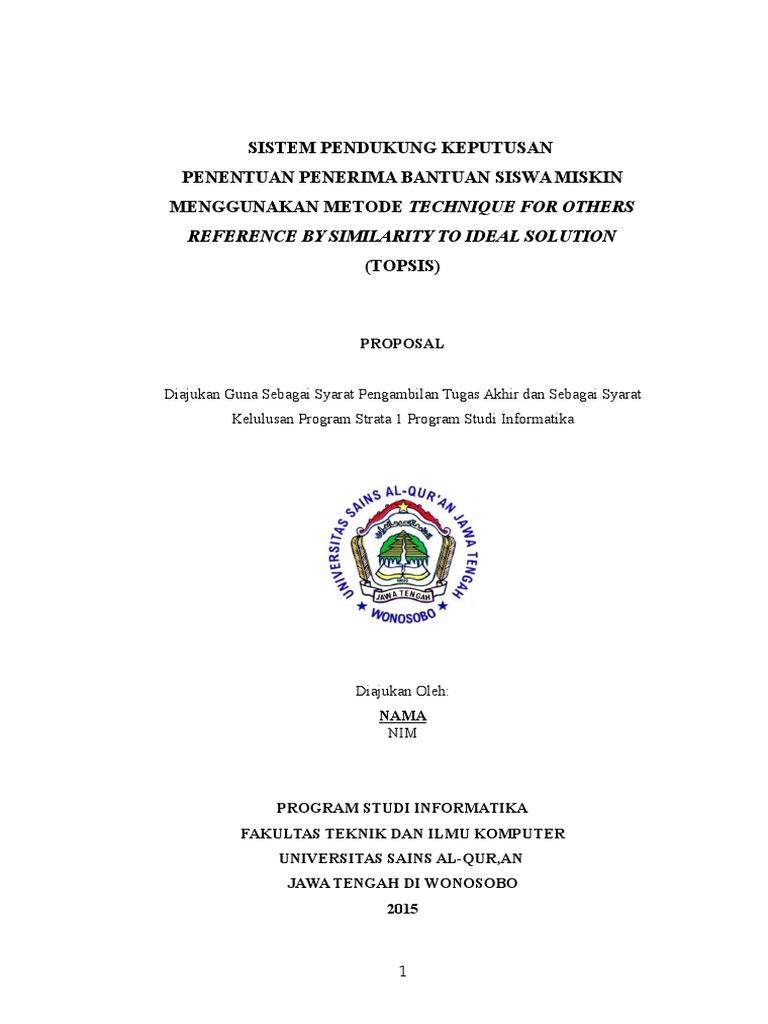 Contoh Proposal Skripsi Sistem Pendukung Keputusan Metode Topsis
