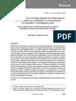 Los Recursos TIC Favorecedores de Estrategias de Aprendizaje Autónomo El Estudiante Autónomo y Autorregulado