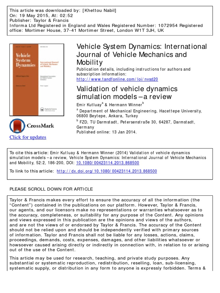 Vehicle System Dynamics: International Journal of Vehicle Mechanics