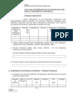 RCER-2010, Volume II, Form PA-H1 Hazardous Substance Handling & Storage