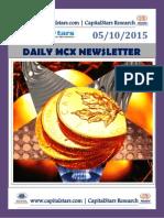 Get latest MCX COMMODITY MARKET NEWS – 05 OCT 2015
