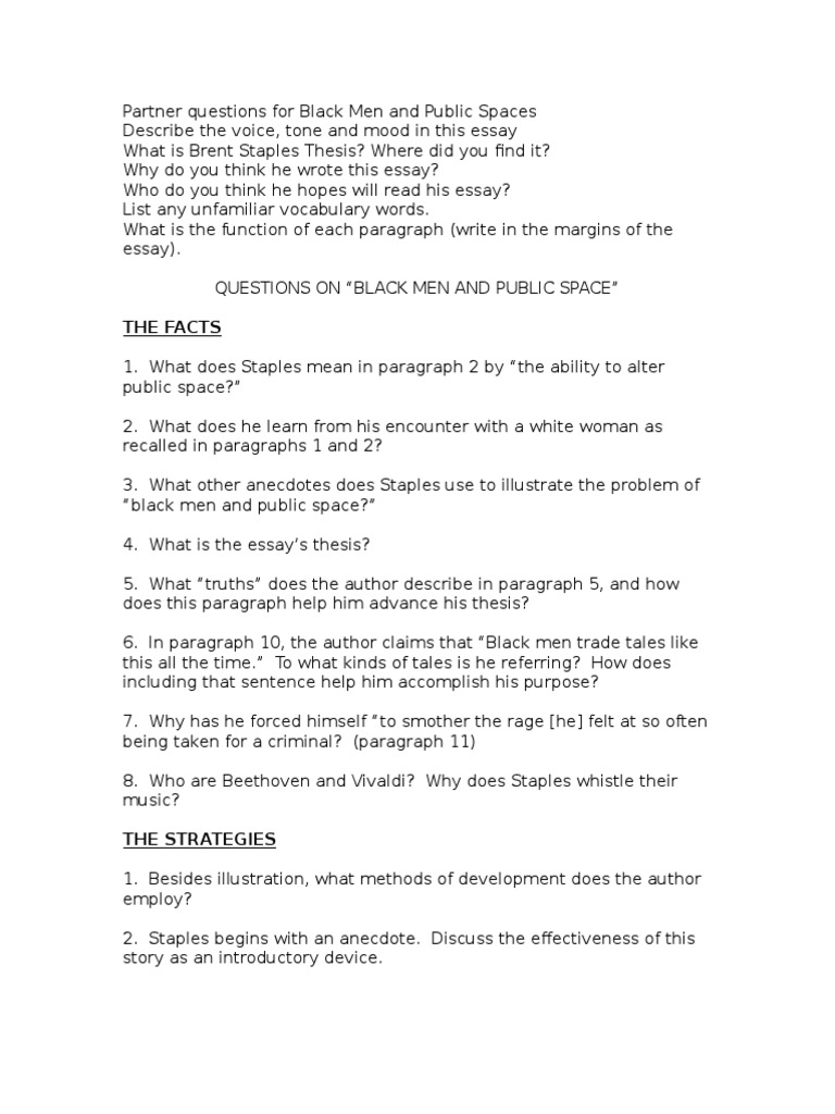 black men and public space essay questions for black men and public spaces essays