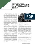Quel Sens Au DD Dans l'Urbanisation Du Tiers Monde
