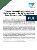 Tshwane communities opens doors to digital learning at the SAP Africa Kick & Code Soccer Camp & Festival Week
