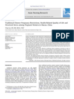 Traditional Chinese Pregnancy Restrictions, Health Related Quality of Life and Perceived Stress Among Pregnant Women in Macao, China