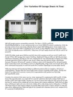 How To Fix Distinctive Varieties Of Garage Doors At Your Possess