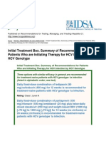 Recommendations for Testing, Managing, And Treating Hepatitis C - Initial Treatment Box. Summary of Recommendations for Patients Who Are Initiating Therapy for HCV Infection by HCV Genotype - 2015-06-29