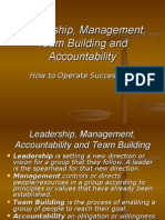 Leadership, Management, Team-Building & Accountability