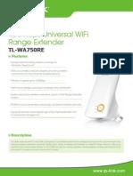 TL-WA750RE V1 Datasheet
