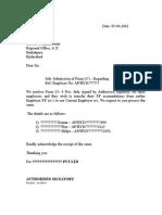 Covering Letter for Form 13