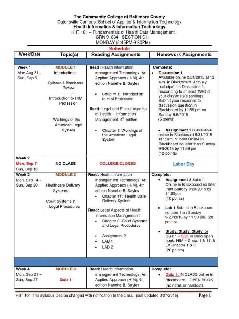 schedule health informatics test assessment