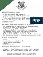Hogwarts Book List