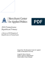 Mercyhurst University Center for Applied Politics 2016 Pennsylvania Republican Primary Poll