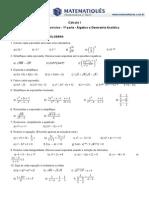 1ª Lista de Exercícios- 1ª Parte - Álgebra e Geometria Analítica