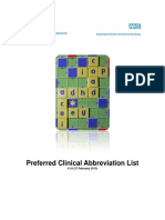 Approved Abbreviations for Use in Clinical Records and Letters