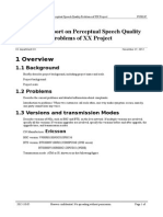 Analysis Report on Perceptual Speech Quality Problems of XX Project