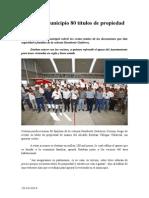 19.10.2014 Entrega Municipio 80 Títulos de Propiedad