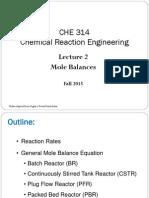 Lecture 2 - Mole Balances
