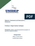 Análisis y Valoración Personal de Un Proyecto de Educación a Distancia en México.