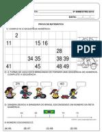 Prova III Bimestre Matematica 1º Ano Fundamental