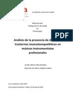 Análisis de La Presencia de Dolor Yo Trastornos Musculoesqueléticos en Músicos Instrumentistas Profesionales