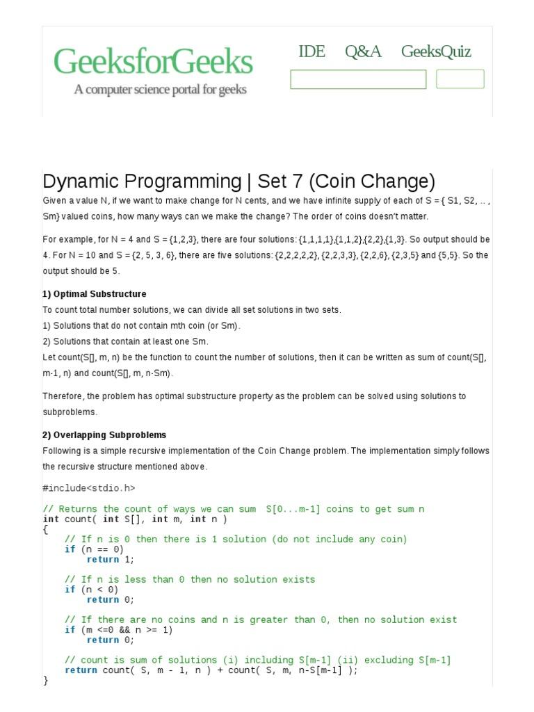 Dynamic Programming (Coin Change)   Dynamic Programming   Computer