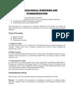 Screening and Standardization