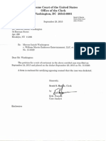 Washington v. William Morris Endeavor Entertainment et al. (15-6329) -- Confirmation Letter from Supreme Court [September 29, 2015]
