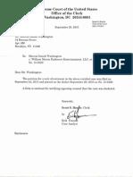 Washington v. William Morris Endeavor Entertainment et al. (15-6329) -- Confirmation Letter from Supreme Court [September 29, 2015]