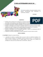 Propuesta de Actividades Del Plan de Convivencia 2015-16