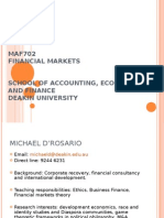 Maf702 Financial Markets School of Accounting, Economics