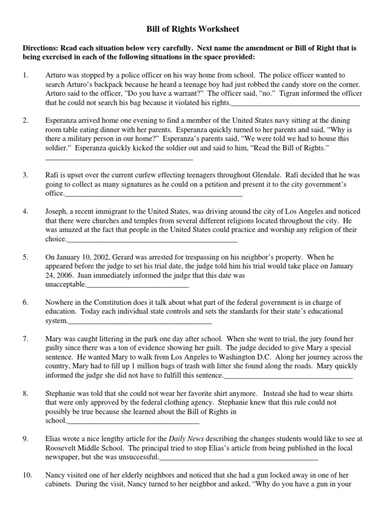 bill of rights worksheet best 25 bill of rights ideas on pinterest ...