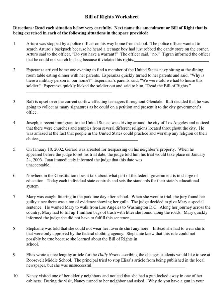 bill of rights worksheet Crime & Justice
