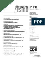INFORMATIVO CAMPESINO - 191 - AGOSTO 2004 - CDE - PORTALGUARANI