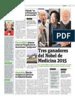 Tres Ganadores Del Nobel de Medicina 2015
