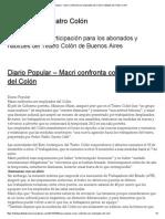 Macri Confronta Con Empleados Del Colón _ Habitués Del Teatro Colón Enero 2011