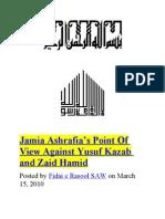 Jamia Ashrafia's Point Of View Against Yusuf Kazab and Zaid Hamid