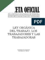 Ley Organica Del Trabajo Los Trabajadores y Las Trabajadoras 2015