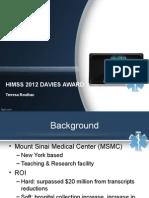 2012 davies award mount sinai