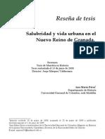 Salubridad Y Vida Urbana En El Nuevo Reino De Granada