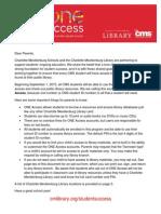 one access parent letter