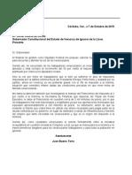 Carta de Juan Bueno Torio a Javier Duarte