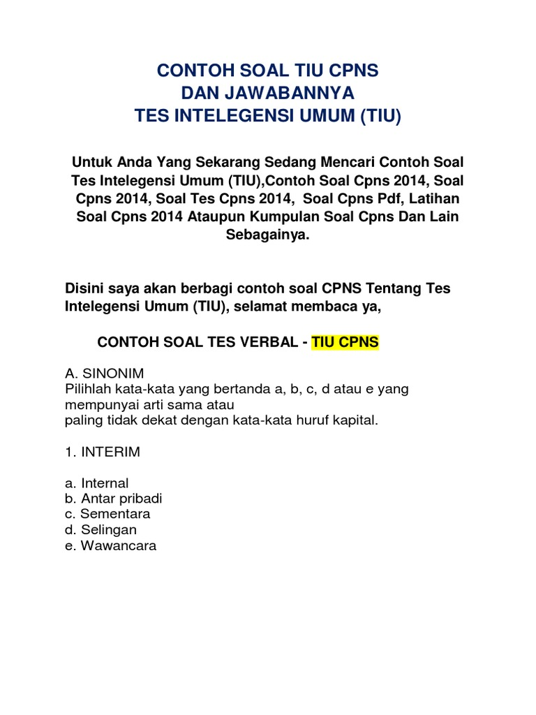 Contoh Soal Cpns 2014 Pdf
