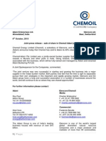 Joint Press Release Sale of Share in Chemoil Adani Joint Venture [Company Update]