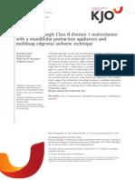 Corrección del ángulo de Clase II división 1 maloclusión con aparatos mandibulares protracción y multiloop canto arco técnica
