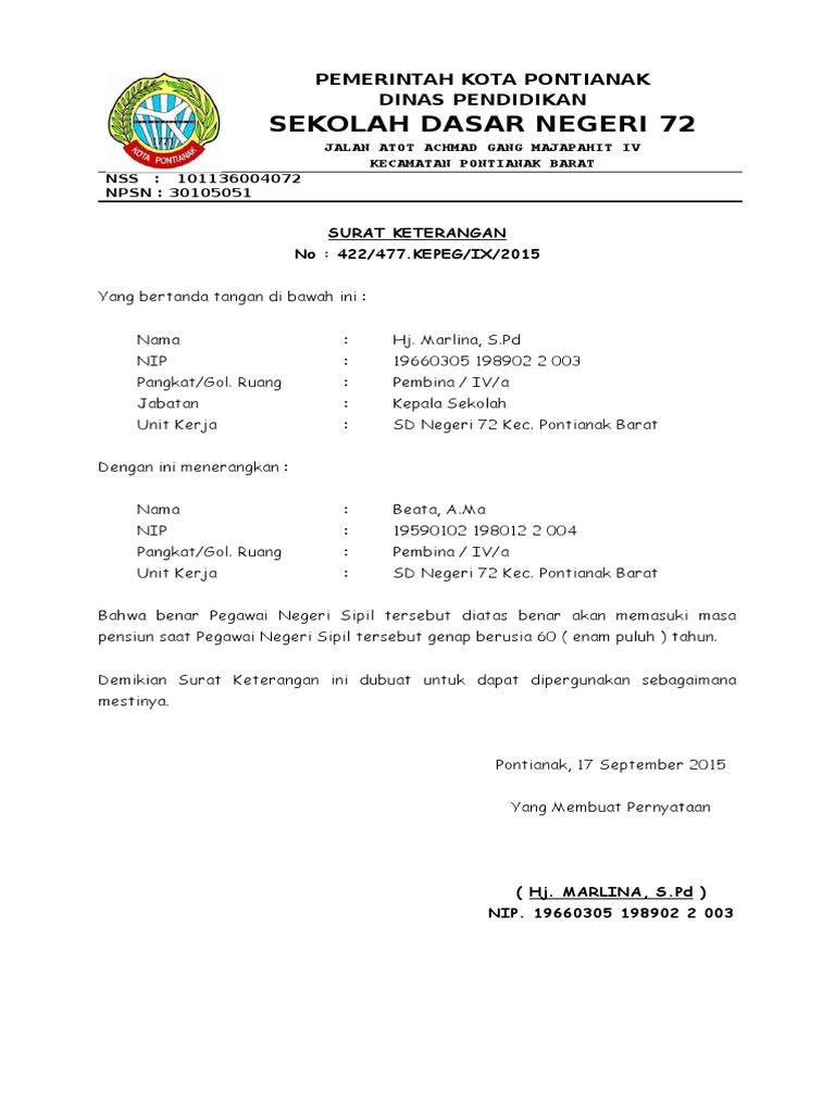Contoh Surat Keterangan Kelakuan Baik Dari Kepala Sekolah ...