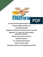 Relatoria Clase La Cultura de La Diversidad y Educación Inclusiva.
