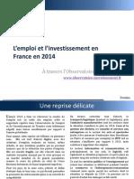 L'Emploi Et l'Investissement en France en 2014 Par Trendeo