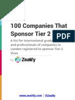 100 Companies That Sponsor Tier 2 Visas